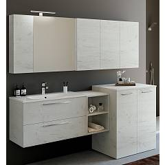 Rcr Basic.109 Bathroom composition l 186 complete with sink with drawers, mirror, spotlight, open base unit and washing machine holder