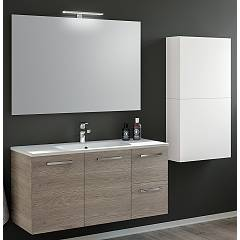 Rcr Basic.110 Bathroom composition l 101 complete with sink with drawers and doors with spotlight and wall units