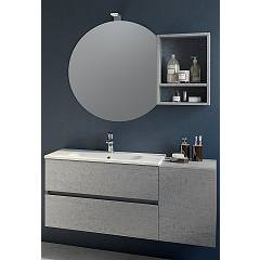 Rcr Basic.111 Bathroom composition l 116 complete with sink with drawers and door with spotlight and wall mirror