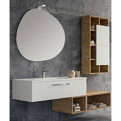 Rcr Basic.113 Bathroom composition l 161 complete with sink with drawer mirror spotlight with open base units and wall units