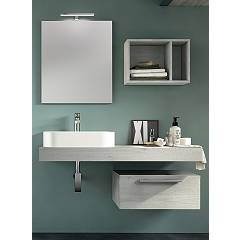 Rcr Basic.114 Bathroom composition l 120 complete with sink with drawer, spotlight mirror and wall unit