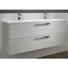 Rcr 2020 Suspended bathroom cabinet h 50 2 drawers with integrated sink 2 bowls - configurable Basic