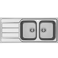 Schock Master D200 Dx Built-in sink 116 cm, 2 bowls on the right + left drainer - stainless steel