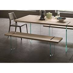 Sedit Reflex Wood bench with glass legs