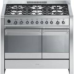 Smeg A2d-8 Kitchen from accosto cm. 100 x 60 inox - 6 burners + 2 electric ovens certified for the german market Opera