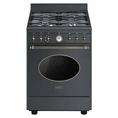 Smeg Co68gmad8 Kitchen from accosto cm. 60 anthracite - 1 electric oven + 4 burners certified for the german market Nostalgie