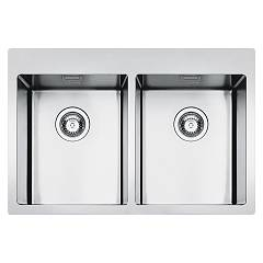 Smeg Lft3434rs Built-in sink cm. 79 - inox brushed 2 tanks Mira