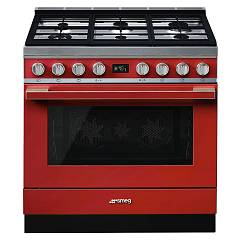 Smeg Cpf9gpr Kitchen from accosto cm. 90 x 60 - red pyrolysis Portofino