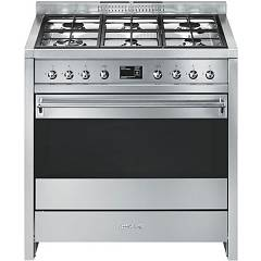 Smeg A1-9 Kitchen accosto cm. 90 - stainless steel 6 burners + 1 electric oven Opera