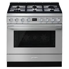 Smeg Cpf9gpxd The kitchen from the docking cm. 90 - stainless steel- 1 electric oven + 6-burner gas stove certificate for the german market Portofino