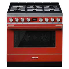 Smeg Cpf9gprd Kitchen from accosto cm. 90 red - 1 electric oven + 6 gas burners certified for the german market Portofino