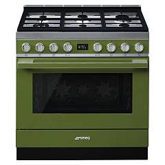 Smeg Cpf9gpogd Kitchen from accosto cm. 90 oliva - 1 electric oven + 6 gas burners certified for the german market Portofino