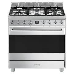 Smeg C9gmxd9 Kitchen from accosto cm. 90 inox - 1 electric oven + 6 gas burners certified for the german market Sinfonia
