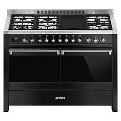 Smeg A4bl-81 Approach kitchen cm. 120 x 60 - black 2 electric ovens + 6 gas burners Classica - Opera