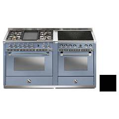 Steel A16sf-4t4i Kitchen from accosto cm. 160 - black 2 electric ovens - 4 burners + fry top + induction hob Ascot