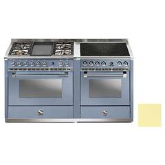 Steel A16sf-4t4i Kitchen from accosto cm. 160 - 2 electric ovens cream - 4 burners + fry top + induction hob Ascot