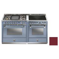 Steel A16sf-4t4i Kitchen from accosto cm. 160 - bordeaux 2 electric ovens - 4 burners + fry top + induction hob Ascot