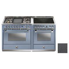 Steel A16sf-4t4i Kitchen from accosto cm. 160 - anthracite 2 electric ovens - 4 burners + fry top + induction hob Ascot