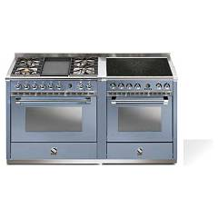 Steel A16sf-4t4i Kitchen from accosto cm. 160 - nuvola 2 electric ovens - 4 burners + fry top + induction hob Ascot