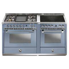 Steel A16sf-4t4i Kitchen from accosto cm. 160 - celeste 2 electric ovens - 4 burners + fry top + induction hob Ascot