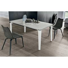 Target Point Magellano Extendable table - aluminum frame with polyurethane legs and porcelain stoneware top | tempered glass with mdf extensions