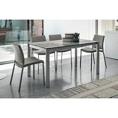 Target Point Sole Extendable table - painted metal structure with porcelain stoneware top | tempered glass and mdf extensions