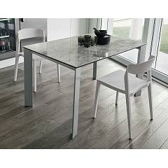Target Point Saturno Extendable table - painted aluminum structure with porcelain stoneware top | glass | laminate