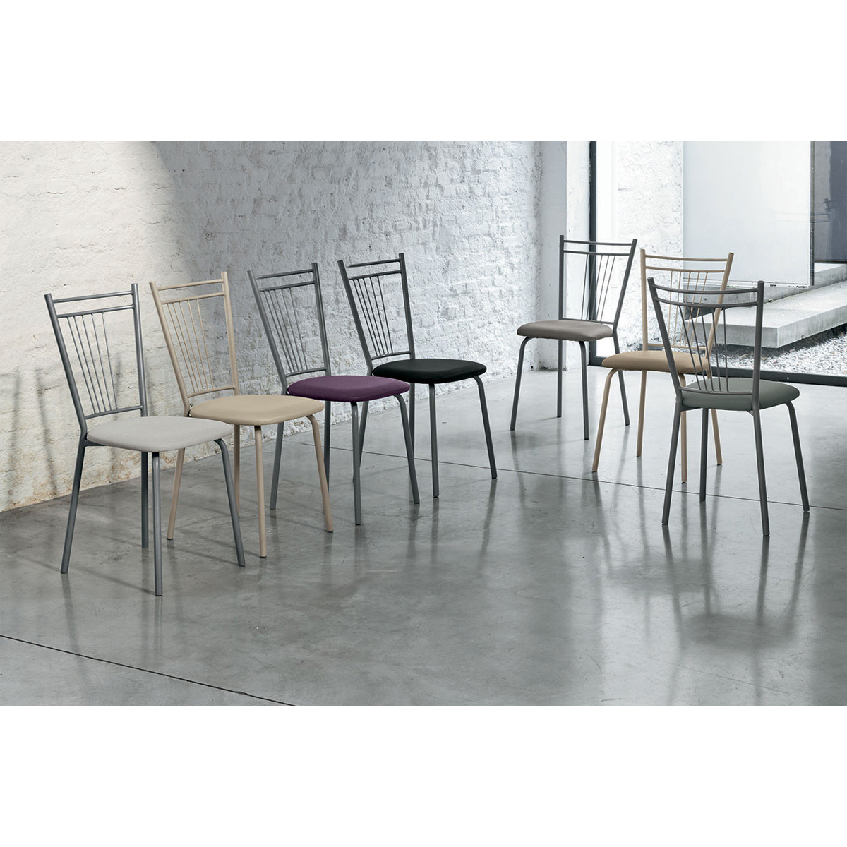 Photos 2: Target Point Chair in metal and net / eco-leather / straw SE104 - GARDA