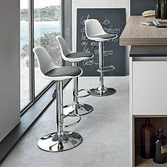 Target Point Sg137 - Stoccolma Revolving stool in metal and polypropylene / eco-leather