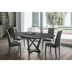 Target Point Cronos Fixed round table | extendable with metal frame and wooden top | glass | porcelain stoneware