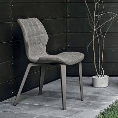Santiago Wood SE189 chair - painted wood structure with vintage graphite soft-touch eco-leather seat