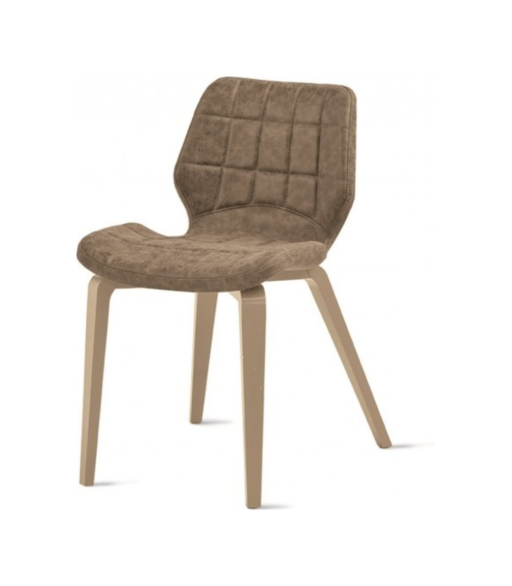 Santiago Wood SE189 chair - rope painted wooden structure with soft dove vintage faux leather seat