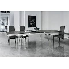 Target Point Crystal Plus Extendable table - aluminum frame with glass legs and porcelain stoneware top / extensions | glass