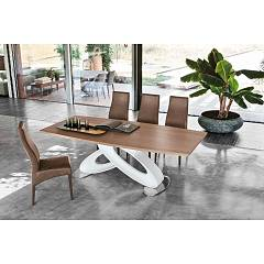 Target Point Eclipse Fixed rectangular table | shaped | oval with polyurethane structure and porcelain stoneware top | veneered wood | transparent glass