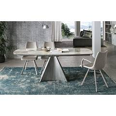 Target Point Tornado Extendable shaped table with painted metal structure and porcelain stoneware top | glass