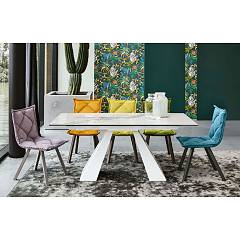 Target Point Taurus Fixed table - painted metal structure | brushed and porcelain stoneware top | laminated | wood veneer