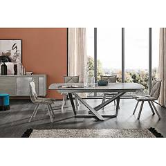 Target Point Priamo Fixed table | extendable with metal frame and wooden top | porcelain stoneware