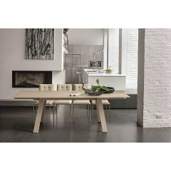 Target Point Giove Extendable table - metal frame | wood and top / extensions in porcelain stoneware | tempered glass