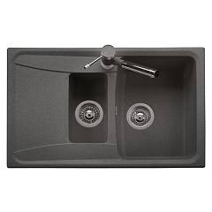 Telma Hr0791 Recessed sink 79 x 50 reversible - 1 bath and 1/2 bathtub - gocciolatoio Forma - Metalquartz