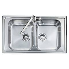 Telma Co08620 Built-in sink 86 x 50 - satin stainless steel 2 tanks Olympus
