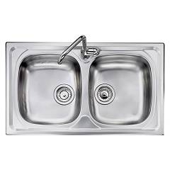 Telma Co07920 Recessed sink 79 x 50 - satin stainless steel 2 tanks Olympus