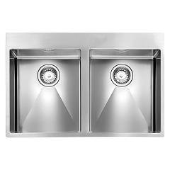 Telma Sr07720 Semifily sink 77 x 50 - satin stainless steel 2 tanks Maki Slim R