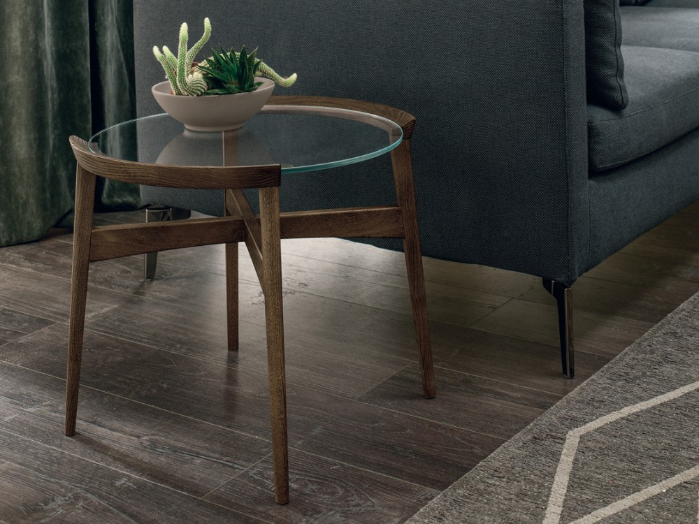 Tomasella Bloom Round Coffee Table Rectangular Square With Wooden Structure And Glass Top 4 Sizes Vieffetrade