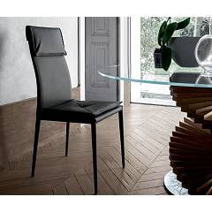 Tonin Casa Adria 8041 Chair in metal and eco-leather / leather