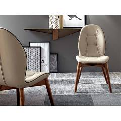 Tonin Casa Sorrento 8043 Chair in wood and eco-leather / leather