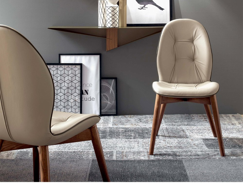 Photos 1: Tonin Casa SORRENTO 8043 Chair in wood and eco-leather / leather