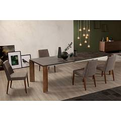 Photos 2: Tonin Casa SAM 7226 Chair in wood and fabric / eco-leather / leather