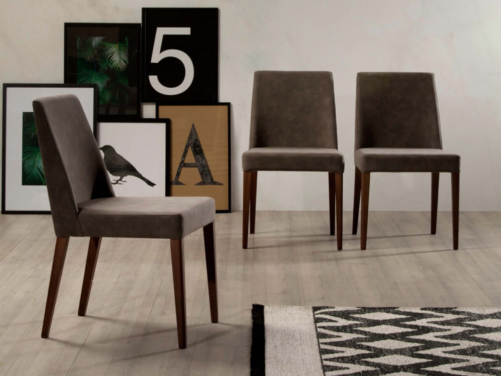 Photos 1: Tonin Casa SAM 7226 Chair in wood and fabric / eco-leather / leather