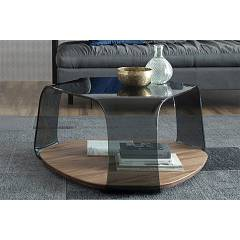 Tonin Casa Chakra 6875 Table in glass and wood l. 85 x 80