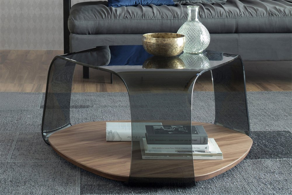 Photos 1: Tonin Casa CHAKRA 6875 Table in glass and wood l. 85 x 80
